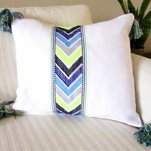 maya; pillow; blue; green; ome decor; brocade; chiapas