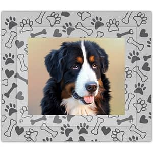 Our Pets Dog Frame with red hearts and white dog bones