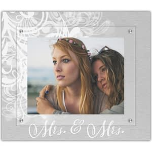 Love is Love picture frame Mrs. & Mrs. classic flourish design by The Modern Angle wedding wall art