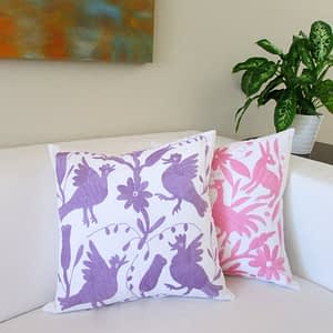 otomi; pink; purple; flowers; birds; pillow; pillow cover; mexican textile