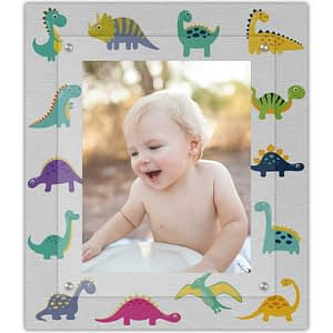 Colorful baby dino dinosaur frame for baby room