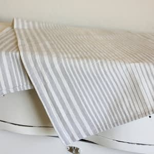 Putty and Cream Stripe Table Runner