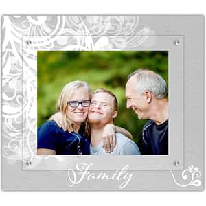 Classic modern family picture frame printed in a white flourish