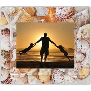 Down by the sea shore shell photography printed on a TMA picture frame