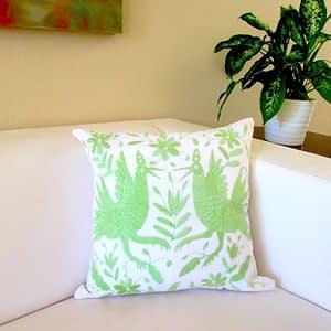green; pillow; pillow cover; otomi; birds; flowers