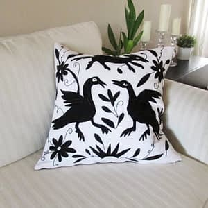pillow cover; otomi; black; wite;