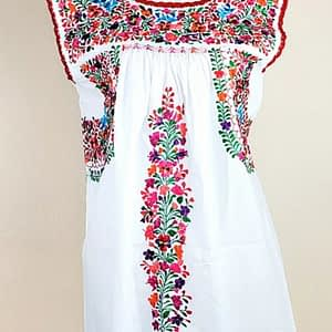 Dress; flowers; white; mexican textile; mexican embroidered